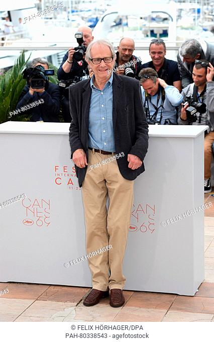 British director Ken Loach pose during the photocall for 'I, Daniel Blake' at the 69th annual Cannes Film Festival, in Cannes, France, 13 May 2016
