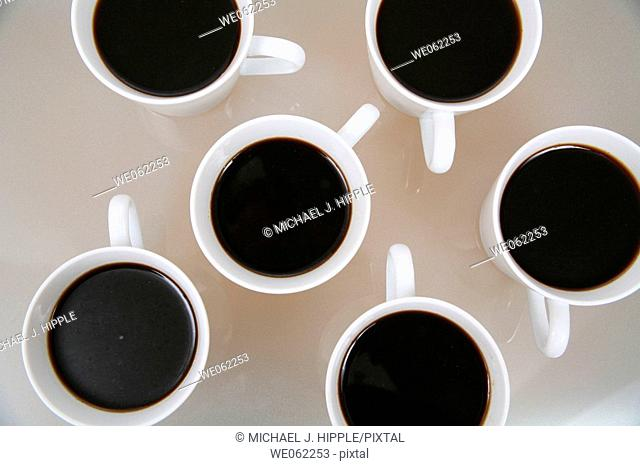 Several cups of coffee