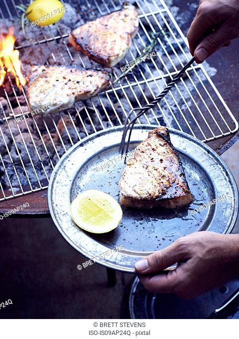 Mans hand taking grilled swordfish from barbecue