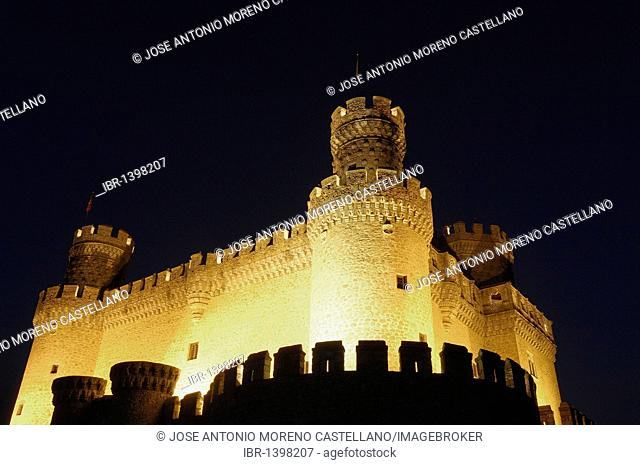 Castle of Manzanares el Real at night, Madrid, Spain, Europe