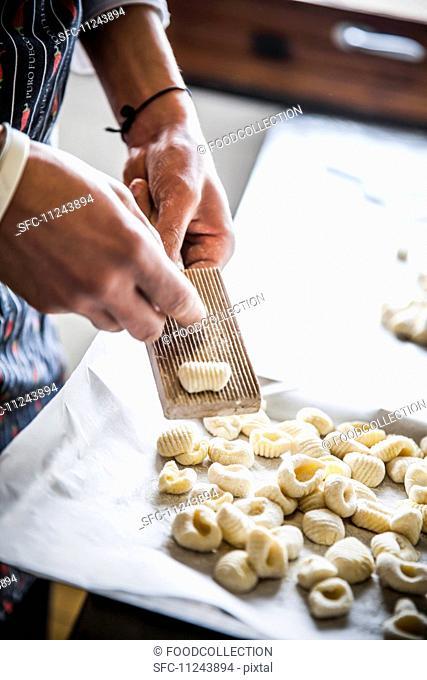 Fresh gnocchi being prepared