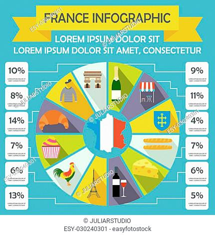 France infographic elements in flat style for any design