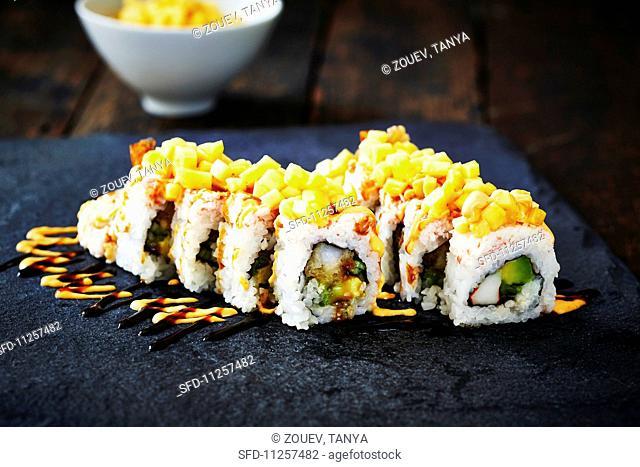 Sushi rolls with avocado (Japan)