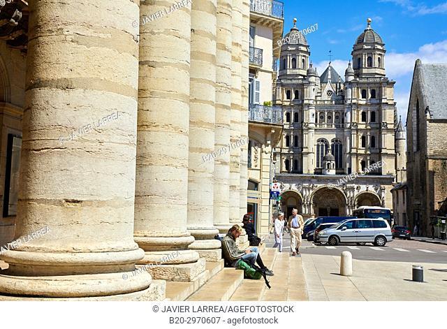 Grand Theatre, Saint-Michel church, Place du Theatre, Dijon, Côte d'Or, Burgundy Region, Bourgogne, France, Europe