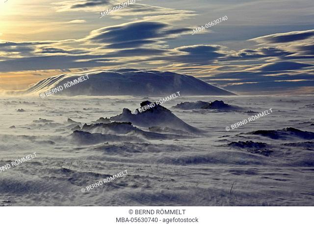 Iceland, Iceland, north-east, region of Myvatn, winter tower, weather, stormily, wind in the lake Myvatn
