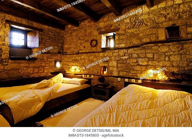 Bedroom at the guest house, 'To Archontiko Tis Aristis' in Aristi village. Ioannina, Epiros, Greece, Europe