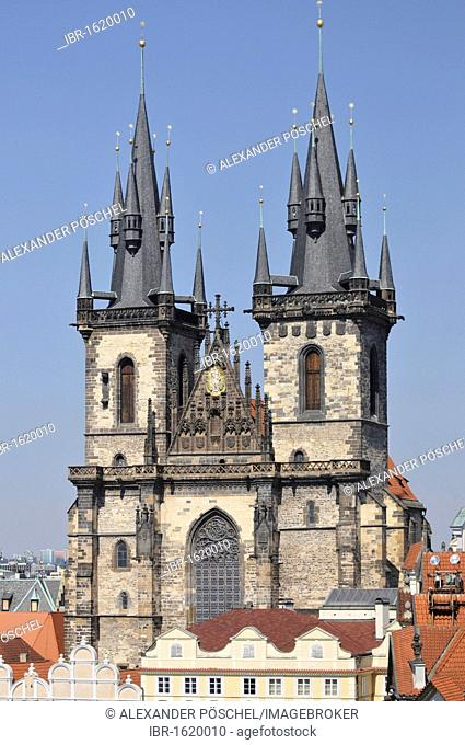 Tyn Church, Hotel U Prince terrace, Old Town Square, Prague, Old Town, Czech Republic, Europe