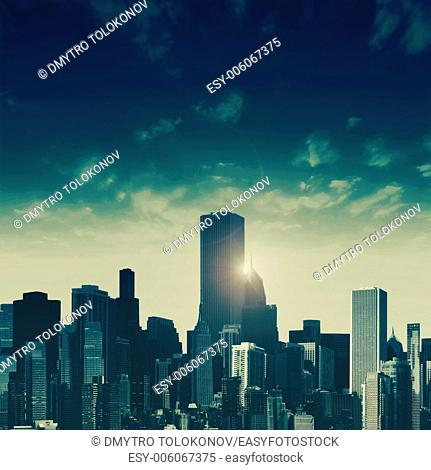 Day falls over the City, abstract urban background
