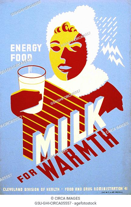 Works Project Administration Poster Promoting Milk, Woman Wearing Winter Clothes Holding Glass of Milk, Cleveland Division of Health