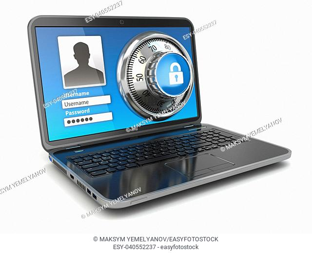 Internet Security. Laptop and safe lock. 3d