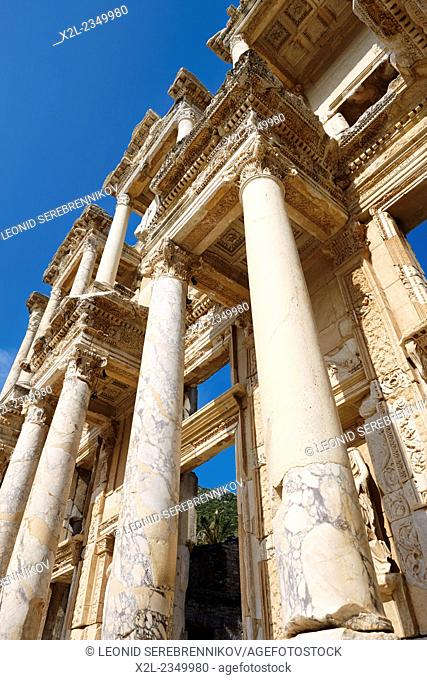 Facade fragment of the Celsus Library. Ephesus Archaeological Site, Izmir province, Turkey