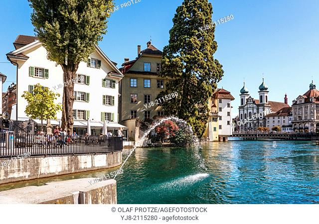 Fountain at Needle dam at the Reuss River, Lucerne, Switzerland