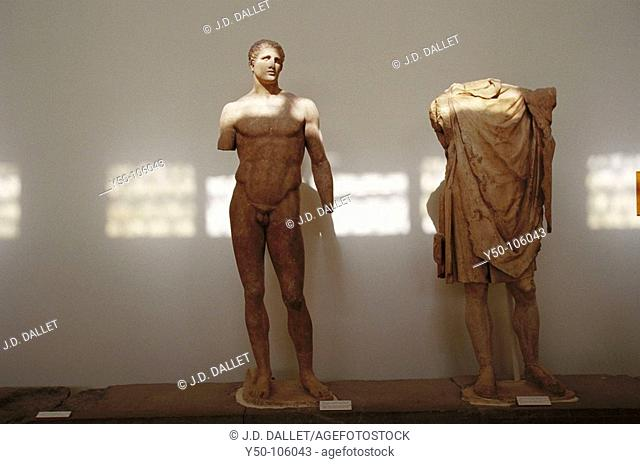 Statue of the athlete Hagias (marble copy of a bronze original 340 B.C.) in museum at Delphi archaeological site. Peloponnese, Greece