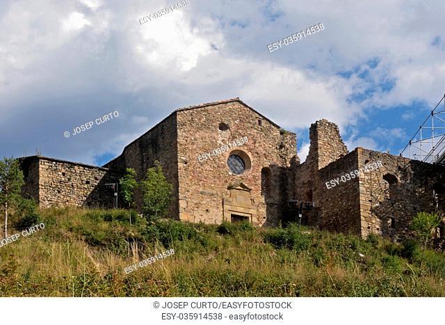 Romanesque church of Santa Maria de Lillet in La Poble de Lillet, Bergueda, Barcelona ,province, Catalonia, Spain