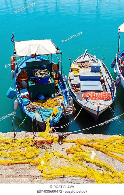 Vintage Fishing Boats at Heraklion Bay, Crete, Greece