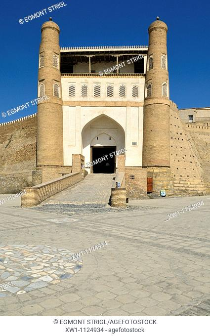 main entrance gate of Ark fortress in Bukhara, Buchara, Silk Road, Unesco World Heritage Site, Uzbekistan, Central Asia