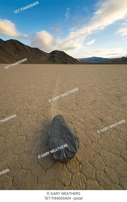 USA, California, Death Valley National Park, Race track Playa, Stones moving on desert