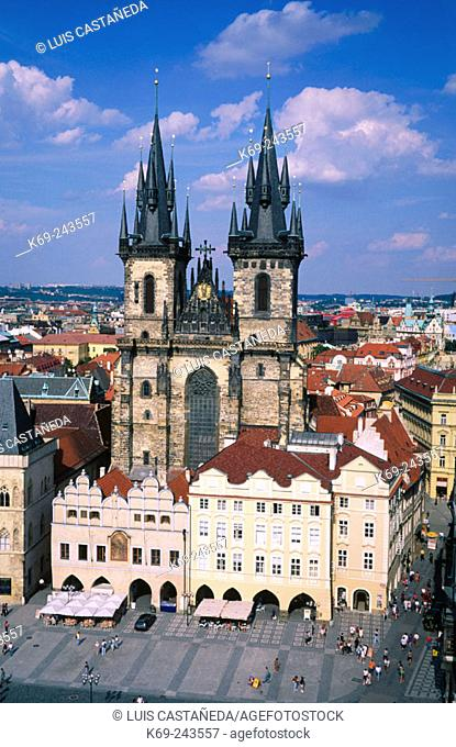 The Tyn Church in the old town. Prague. Czech Republic