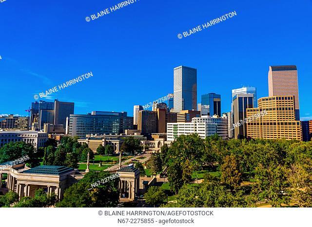 Downtown Denver skyline with Civic Center Park in foreground, Denver, Colorado USA