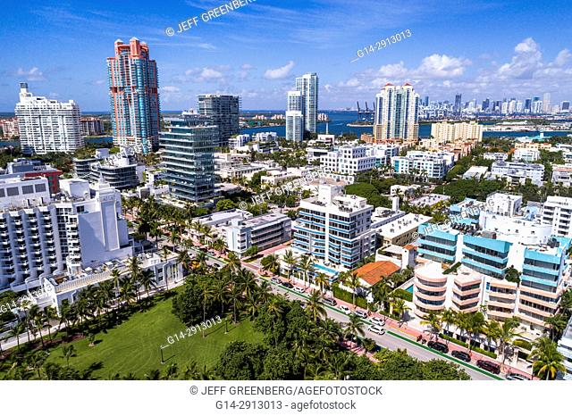 Florida, Miami Beach, aerial, overhead view, above, bird's eye view, city skyline, residential condominium buildings, high rise, Portofino, Ocean Drive