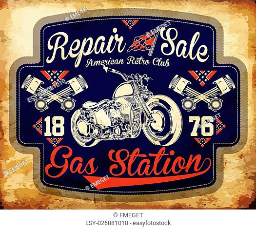 Vintage gasoline retro signs and labels. Gas station