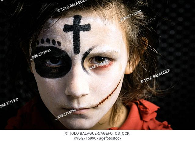 Boy in Halloween makeup