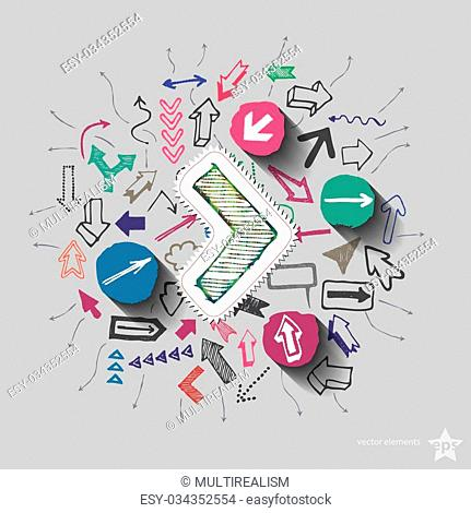 Arrows collage with icons background. Vector illustration
