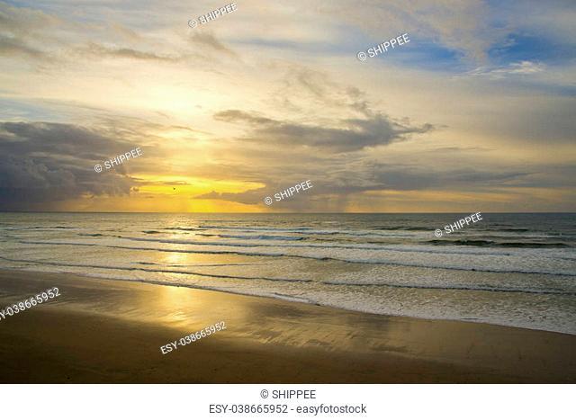 Beautiful sunset, calm ocean along the northern Oregon coast, Pacific Ocean