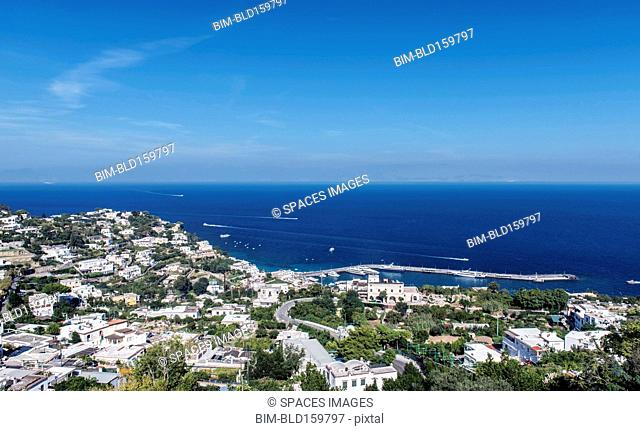 Aerial view of Capri cityscape and ocean, Naples, Italy