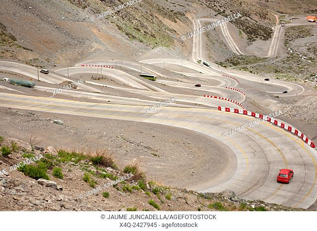 Curvy road between Chile and Argentina - crossing the Andes