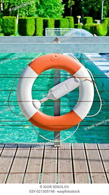 Life buoy near the swimming pool, close-up