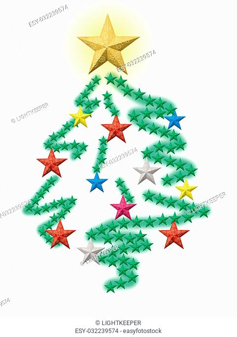 Christmas stars forming a colorful decorated pine tree