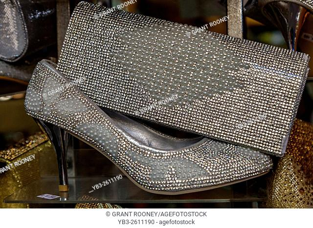 Silver Shoes and Handbags For Sale In The Muttrah Souk (Al Dhalam), Muttrah, Muscat, Sultanate Of Oman