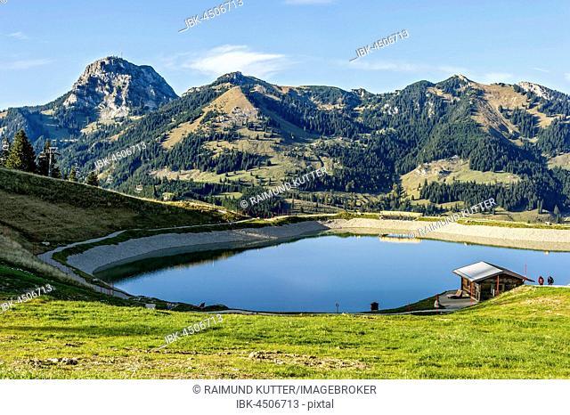 Water reservoir for artificial snow, pond, Walleralm, Mount Wendelstein at back, Mangfall mountains, Alpine foothills, Upper Bavaria, Bavaria, Germany