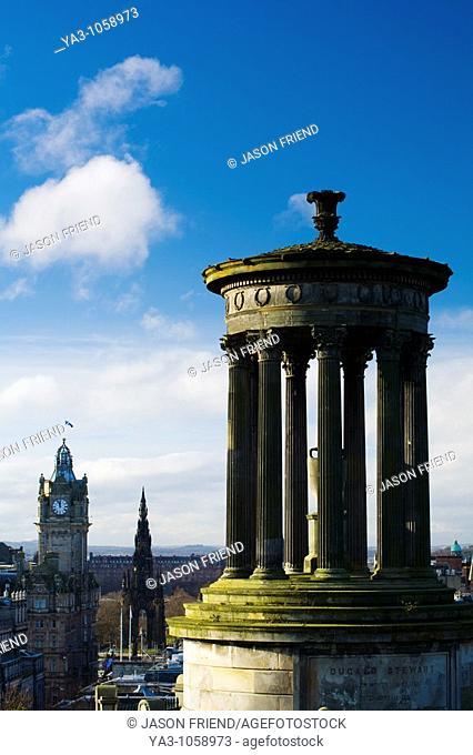Scotland, Edinburgh, Calton Hill  The Dugald Stewart Monument on Calton Hill, looking towards the Castle and Old Town of Edinburgh