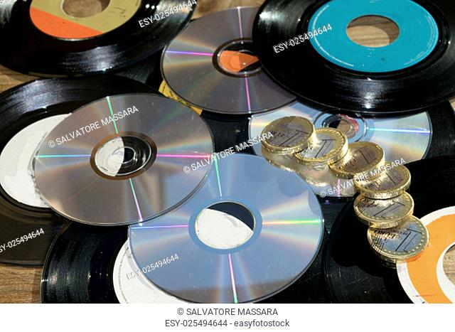 old and newVinyl records and cd rom
