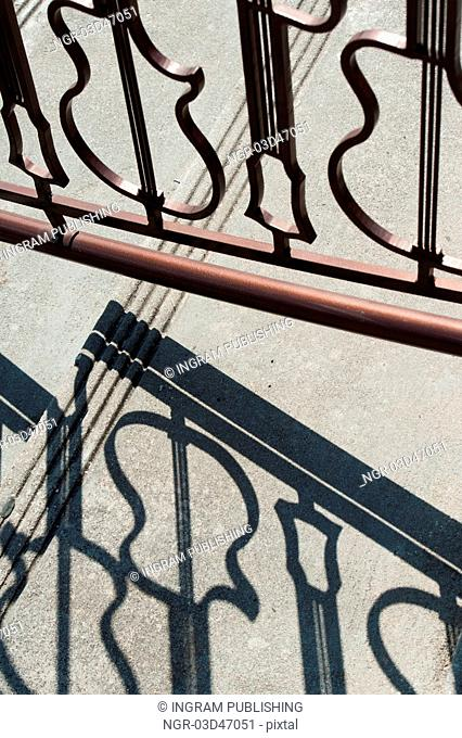 Wrought iron gate in form of guitar shapes at Hard Rock cafe, Universal Studios, Orlando, Florida, USA