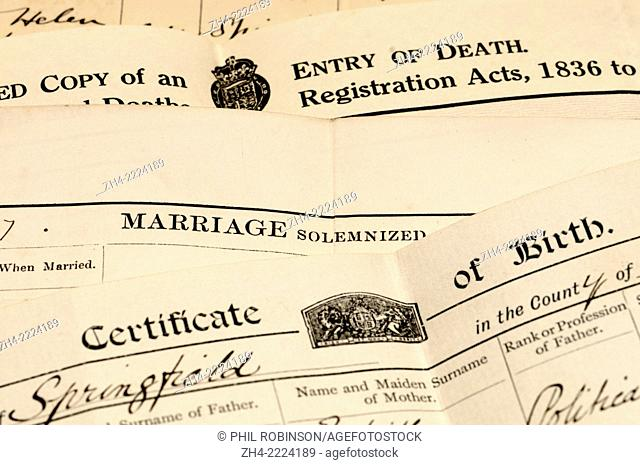Certified copies of Birth, Marriage and Death registers