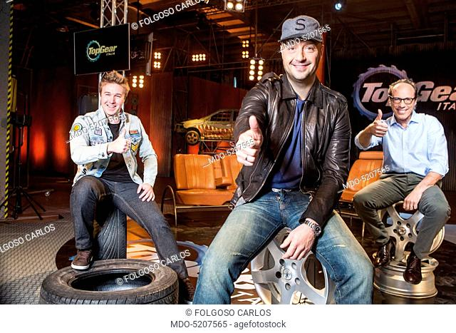 TV personality and entrepreneur Joe Bastianich, racing driver Davide Valsecchi and commentator Guido Meda in the backstage of the TV show Top Gear Italia