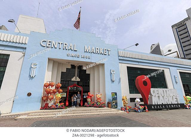 Exterior facade of the Central Market Founded in 1888, also known as the Pasar Seni Market, one of the heritage buildings in Kuala Lumpur