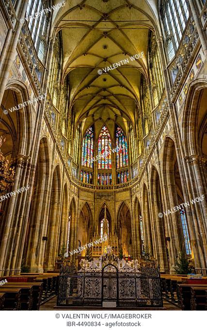 Apse, Gothic St. Vitus Cathedral, St. Vitus Cathedral, Indoors, Prague Castle, Hradcany, Prague, Bohemia, Czech Republic