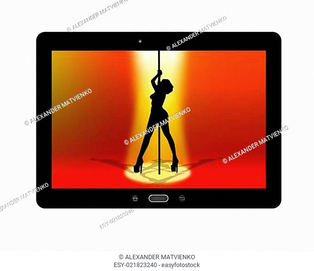 black tablet with strip-tease