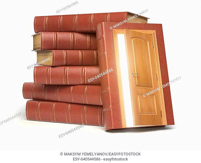 Education, knowledge and reading concept. Pile of old red books and door with light isolated on white. 3d illustration