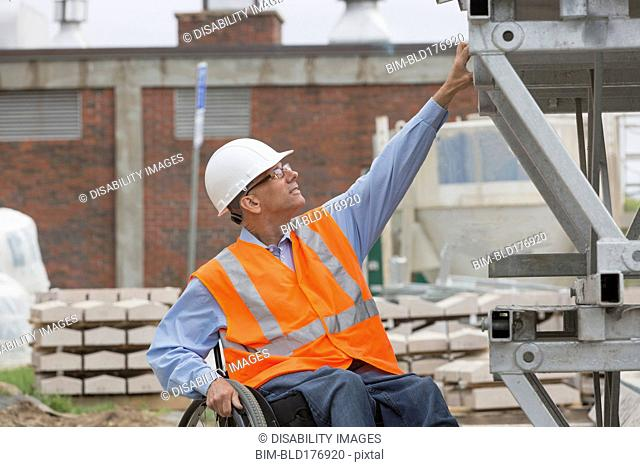Caucasian engineer working on construction site