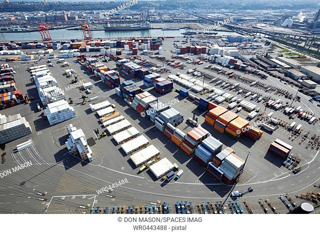 Containers At Port Staging Area