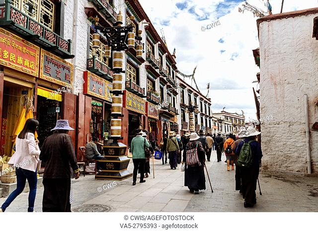 Lhasa, Tibet, China - The view in Barkhor Street in the daytime