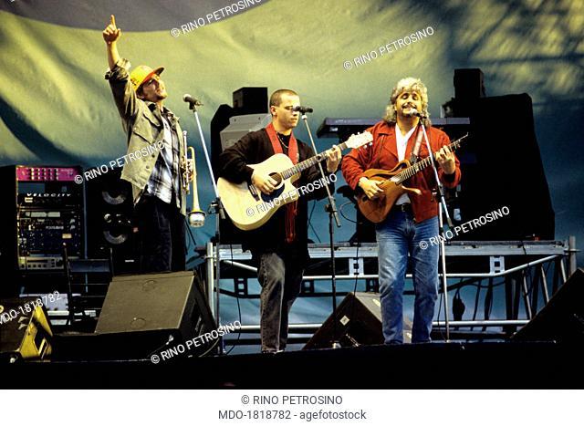 Italian singer-songwriter Eros Ramazzotti, Italian musician and singer-songwriter Pino Daniele (Giuseppe Daniele) and Italian singer-songwriter Jovanotti...