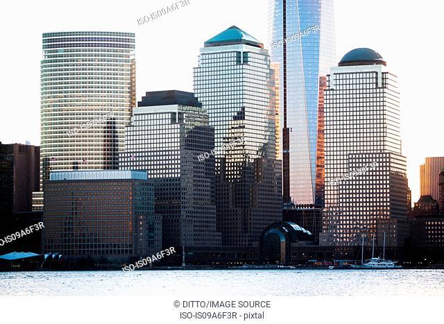 Manhattan waterfront and skyline, New York City, USA