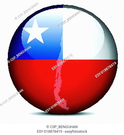 Map on flag button of Republic of Chile