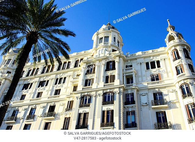 Facade of the Casa Carbonell building in Alicante, Valencia, Spain